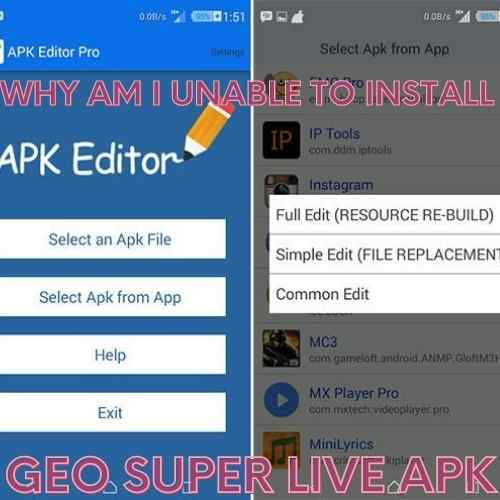 why i am unable to install Geo Super apk